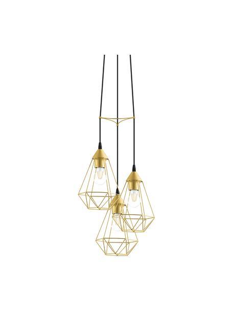 Cluster hanglamp Kyle in goudkleur, Baldakijn: geborsteld metaal, Goudkleurig, Ø 36 cm
