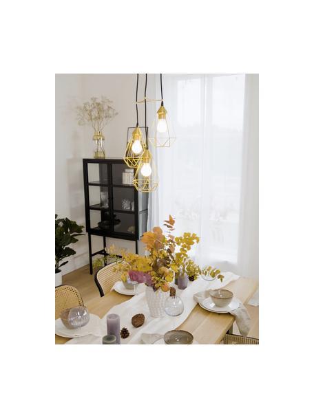 Lámpara de techo cluster Kyle, Fijación: metal cepillado, Cable: cubierto en tela, Dorado, Ø 36 cm