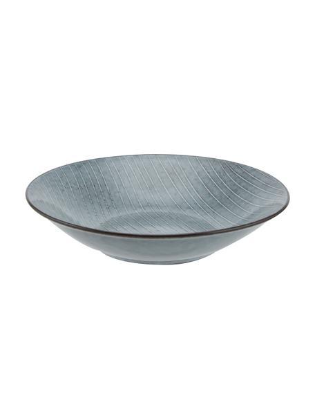 Platos hondos artesanales Nordic Sea, 4uds., Gres, Tonos de gris y azul, Ø 22 x Al 5 cm