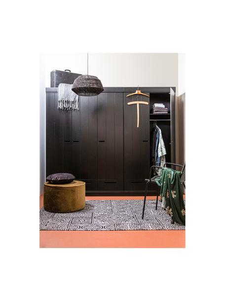 Kleiderschrank Connect mit 2 Türen in Schwarz, Korpus: Kiefernholz, massiv, lack, Einlegeböden: Melamin, Schwarz, 94 x 195 cm