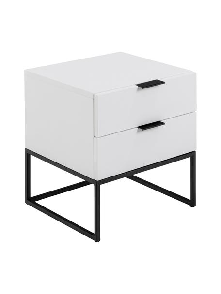 Comodino con 2 cassetti Kobe, Bianco, nero, Larg. 45 x Alt. 48 cm