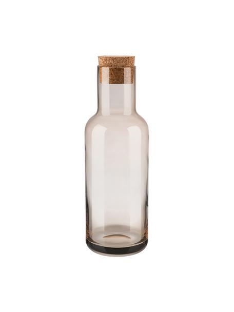 Karaffe Fuum in Braun, 1 L, Verschluss: Kork, Beige, transparent, H 29 cm