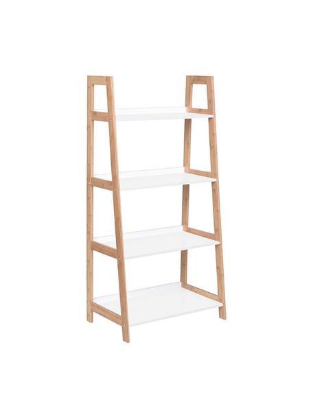 Estantería escalera Brooklyn, Estructura: madera de bambú, Estantes: tablero de fibras de dens, Beige, blanco, An 62 x Al 130 cm