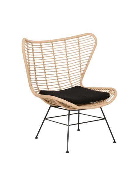 Polyrotan fauteuil Costa in lichtbruin, Zitvlak: polyethyleen-vlechtwerk, Frame: gepoedercoat metaal, Lichtbruin, B 90 x D 89 cm