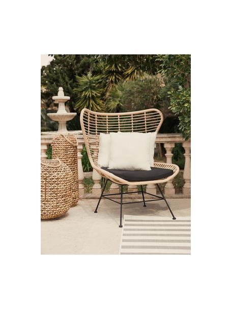 Fotel uszak z polirattanu Costa, Stelaż: metal malowany proszkowo, Jasny brązowy, S 90 x G 89 cm