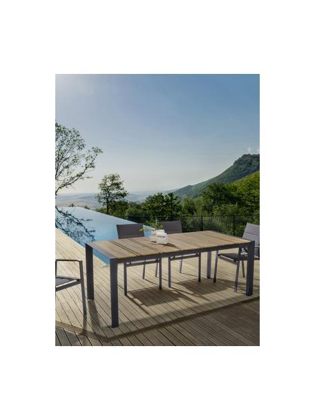 Mesa de comedor para exterior Elias, Tablero: madera contrachapada recu, Patas: aluminio con pintura en p, Gris antracita, marrón, An 198 x F 100 cm