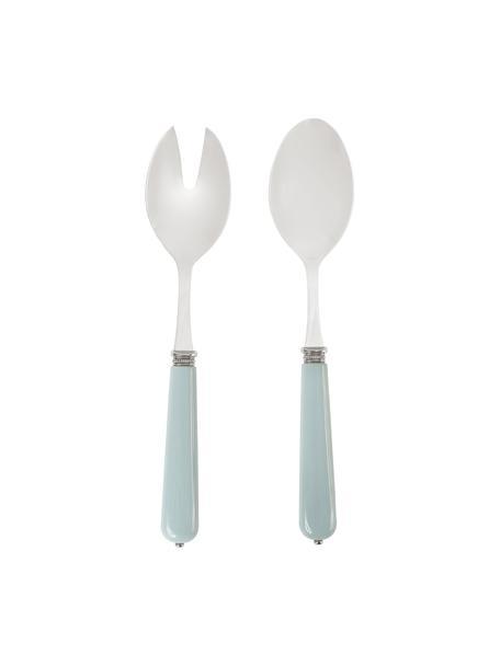 Set 2 posate per insalata con manico azzurro Lucie, Acciaio inossidabile, materiale sintetico, Acciaio, blu, Lung. 26 cm