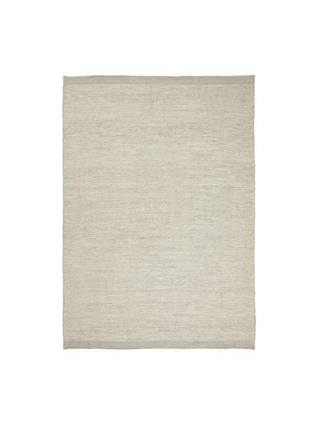 Handgeweven wollen vloerkleed Asko in beige/lichtgrijs, gevlekt, Bovenzijde: 90% wol, 10% katoen, Onderzijde: katoen Bij wollen vloerkl, Grijs, B 140 x L 200 cm (maat S)