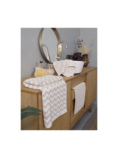 Set 3 asciugamani con motivo a zigzag Liv, Sabbia, bianco crema, Set in varie misure