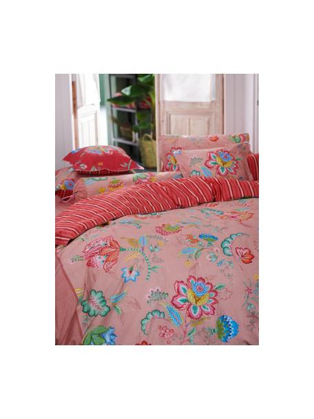 Baumwollperkal-Wendebettwäsche Jambo Flower mit dekorativen Schleifen, floral/gestreift, Webart: Perkal Fadendichte 200 TC, Rosa, Mehrfarbig, 135 x 200 cm + 1 Kissen 80 x 80 cm