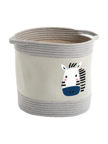 Opbergmand Zebra, 90% polyester, 10% katoen, Grijs, blauw, Ø 30 x H 30 cm