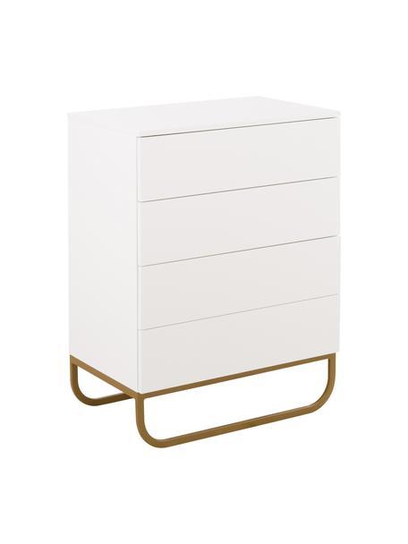 Ladekast Sanford in wit, Frame: gelakt MDF, Poten: gepoedercoat metaal, Wit, goudkleurig, 80 x 106 cm