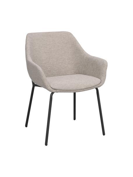 Gestoffeerde stoel Haley met metalen poten, Bekleding: 100% polypropyleen, Frame: multiplex, Poten: gecoat metaal, Grijsbeige, zwart, 59 x 61 cm