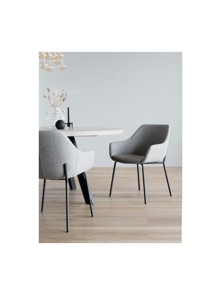 Gestoffeerde stoel Haley in lichtgrijs met metalen poten, Bekleding: 100% polypropyleen, Frame: multiplex, Poten: gecoat metaal, Lichtgrijs, zwart, 59 x 61 cm