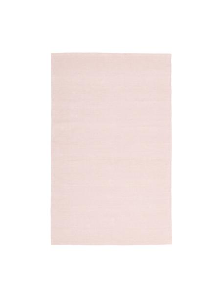 Dun handgeweven katoenen vloerkleed Agneta, 100% katoen, Roze, B 50 x L 80 cm (maat XXS)