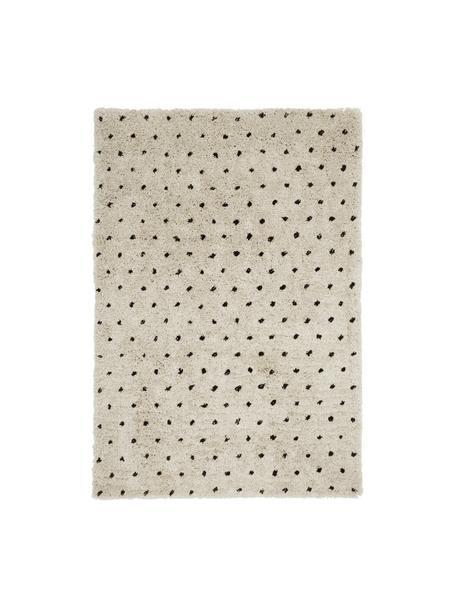 Flauschiger Hochflor-Teppich Ayana, gepunktet, Flor: 100% Polyester, Beige, Schwarz, B 200 x L 300 cm (Größe L)
