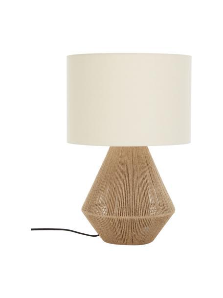 Lampada da tavolo in juta boho Cecillia, Base della lampada: metallo, juta, Paralume: tessuto, Marrone, bianco, Ø 32 x Alt. 48 cm