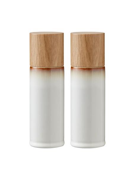 Steingut Salz- und Pfeffermühle Bizz mit Holzdeckel, 2er-Set, Deckel: Eichenholz, Mahlwerk: Keramik, Cremeweiß, Braun, Holz, Ø 5 x H 17 cm