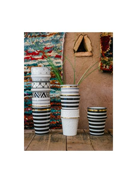 Ręcznie wykonany kubek Beldi, Ceramika, Czarny, odcienie kremowego, złoty, Ø 8 x W 11 cm