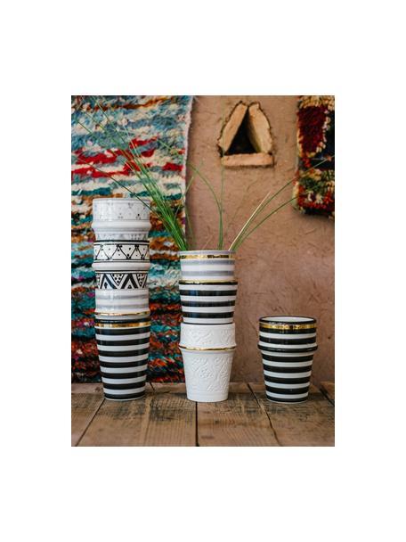Tazza fatta a mano stile marocchino con bordo oro Beldi, Ceramica, Nero, crema, oro, Ø 8 x Alt. 11 cm