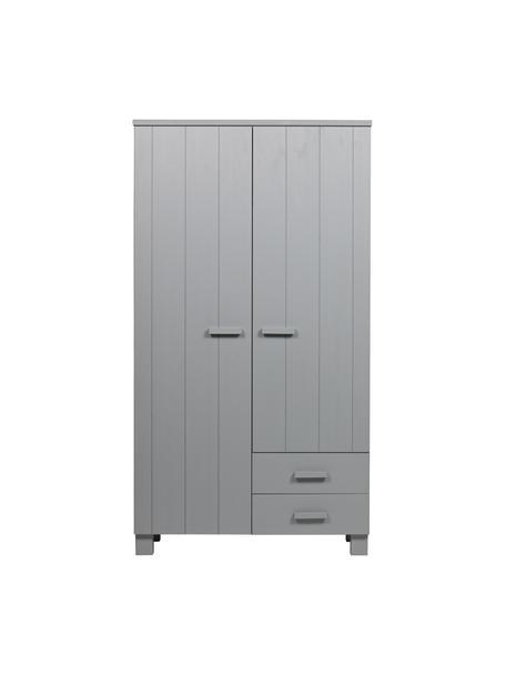 Armadio in legno di pino grigio chiaro con cassetti Dennis, Grigio cemento, Larg. 111 x Alt. 202 cm