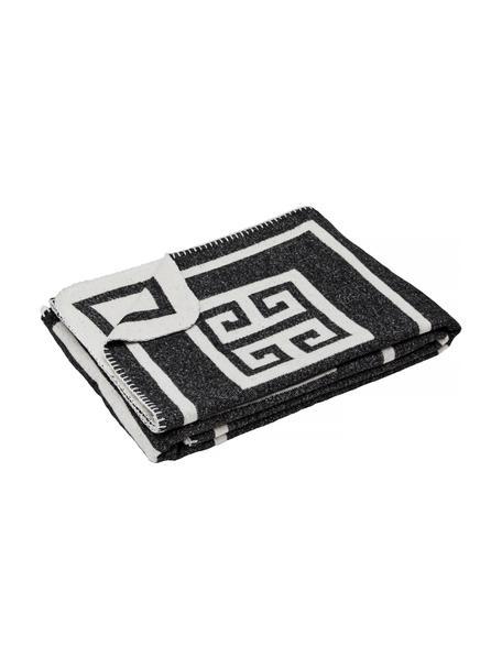 Plaid Lugano in zwart/wit met grafisch patroon, 100% polyester, Zwart, wit, 138 x 184 cm