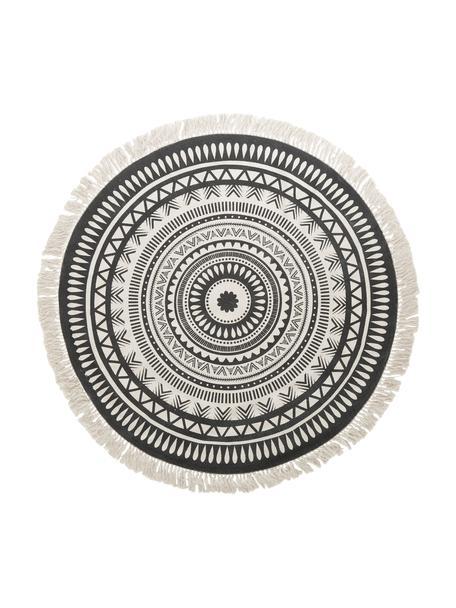 Rond vloerkleed Benji met franjes, vlak geweven, Zwart, beige, Ø 150 cm (maat M)