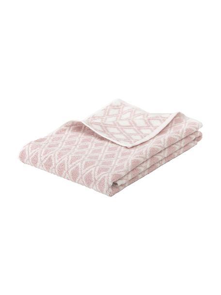 Wende-Handtuch Ava mit grafischem Muster, Rosa, Cremeweiß, Duschtuch