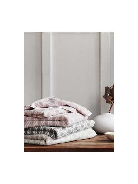 Wende-Handtuch Ava mit grafischem Muster, Rosa, Cremeweiss, Duschtuch