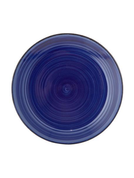 Piatto piano dipinto a mano Baita 6 pz, Gres (pietra dolomitica) dipinto a mano, Blu, Ø 27 cm