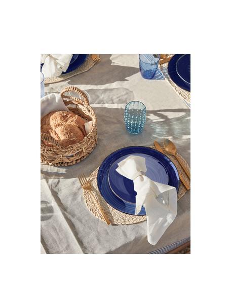 Set van 6 handbeschilderde dinerborden Baita in blauw, Handbeschilderde keramiek (hard dolomiet), Blauw, Ø 27 cm