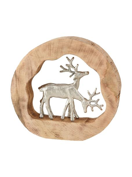 Deko-Hirsche Elmar mit silbernen Figuren H 28 cm, Holz, Aluminium, beschichtet, Holz, Silberfarben, 27 x 28 cm