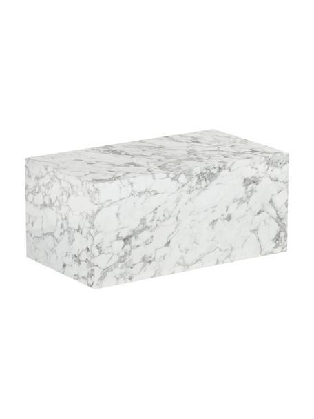 Mesa de centro en look mármol Lesley, Tablero de fibras de densidad media(MDF) recubierto en melanina, Blanco, An 90 x F 50 cm
