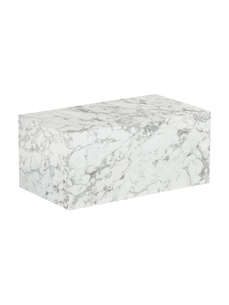 Tavolino da salotto effetto marmo Lesley, Pannello di fibra a media densità (MDF) rivestito con foglio di melamina, Bianco marmorizzato, Larg. 90 x Alt. 40 cm