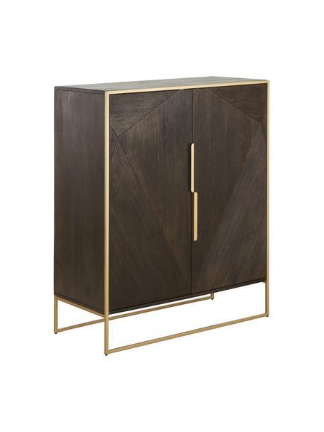 Dressoir Harry van massief hout, Frame: gelakt massief mangohout, Massief hout bruin, 100 x 120 cm