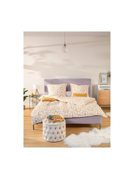 Gestoffeerd fluwelen bed Peace in mauve, Frame: massief grenenhout en pla, Bekleding: polyester fluweel, Poten: gepoedercoat metaal, Fluweel mauve, 140 x 200 cm