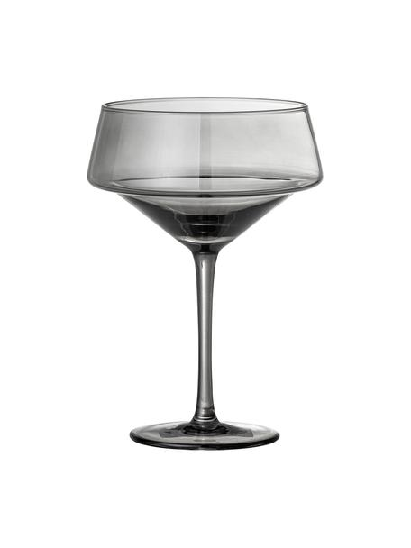 Champagnerschalen Yvette in Grau, 4 Stück, Glas, Grau, Ø 13 x H 18 cm