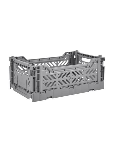 Caja plegable apilable Grey, pequeña, Plástico reciclado, Gris, An 27 x Al 11 cm