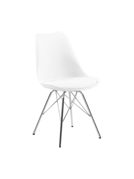 Kunststoffen stoelen Eris, 2 stuks, Zitvlak: kunststof, Zitvlak: kunstleer, Poten: verchroomd metaal, Wit, poten chroomkleurig, 49 x 54 cm