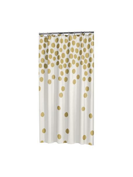 Cortina de baño Spots, Ojales: metal, Blanco, dorado, An 180 x L 200 cm
