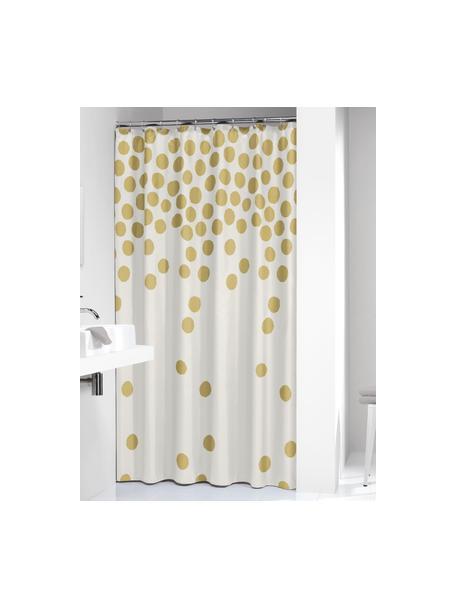 Zasłona prysznicowa Spots, Biały, odcienie złotego, S 180 x D 200 cm