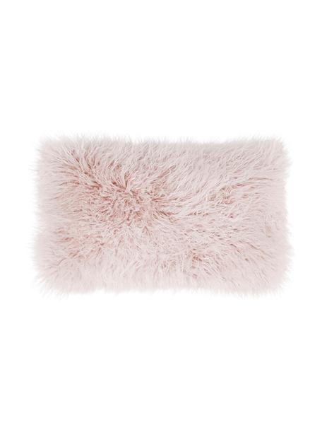Flauschige Kunstfell-Kissenhülle Morten in Rosa, gelockt, Vorderseite: 67% Akryl, 33% Polyester, Rückseite: 100% Polyester, Rosa, 30 x 50 cm