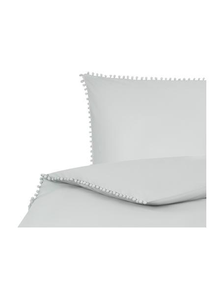 Baumwollperkal-Bettwäsche Bommy mit Pompoms, Webart: Perkal Fadendichte 200 TC, Hellgrau, 135 x 200 cm + 1 Kissen 80 x 80 cm
