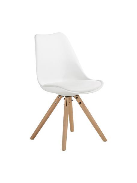Sillas con asiento de cuero sintético Max, 2uds., Asiento: cuero sintético (poliuret, Asiento: plástico, Patas: madera de haya, Blanco, An 46 x F 54 cm