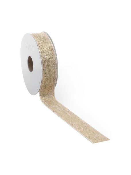 Geschenkband Boucle mit Lurex-Fäden, 55% Polyester, 45% Lurexfaden, Goldfarben, Beige, 3 x 1000 cm