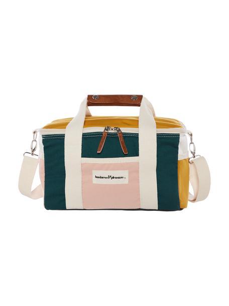Koeltas Retro, 40% katoen, 40% polyester, 15% gerecycled PVC, 5% leer, Mosterdgeel, wit, smaragdgroen, roze, bruin, 32 x 20 cm