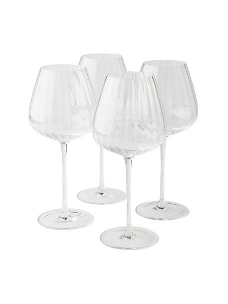 Bicchiere vino rosso con struttura scanalata Akia 4 pz, Vetro, Trasparente, Ø 10 x Alt. 24 cm