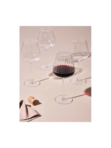 Rode wijnglazen Akia met groefstructuur, 4 stuks, Glas, Transparant, Ø 10 x H 24 cm