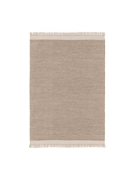 Ręcznie tkany dywan z wełny z frędzlami Kim, 80% wełna, 20% bawełna Włókna dywanów wełnianych mogą nieznacznie rozluźniać się w pierwszych tygodniach użytkowania, co ustępuje po pewnym czasie, Beżowy, kremowy, S 80 x D 120 cm (Rozmiar XS)