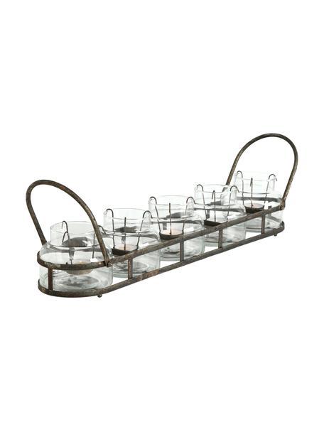 Set portacandele Zuma 6 pz, Portacandela: vetro, Trasparente, metallo con finitura antica, Larg. 64 x Alt. 13 cm